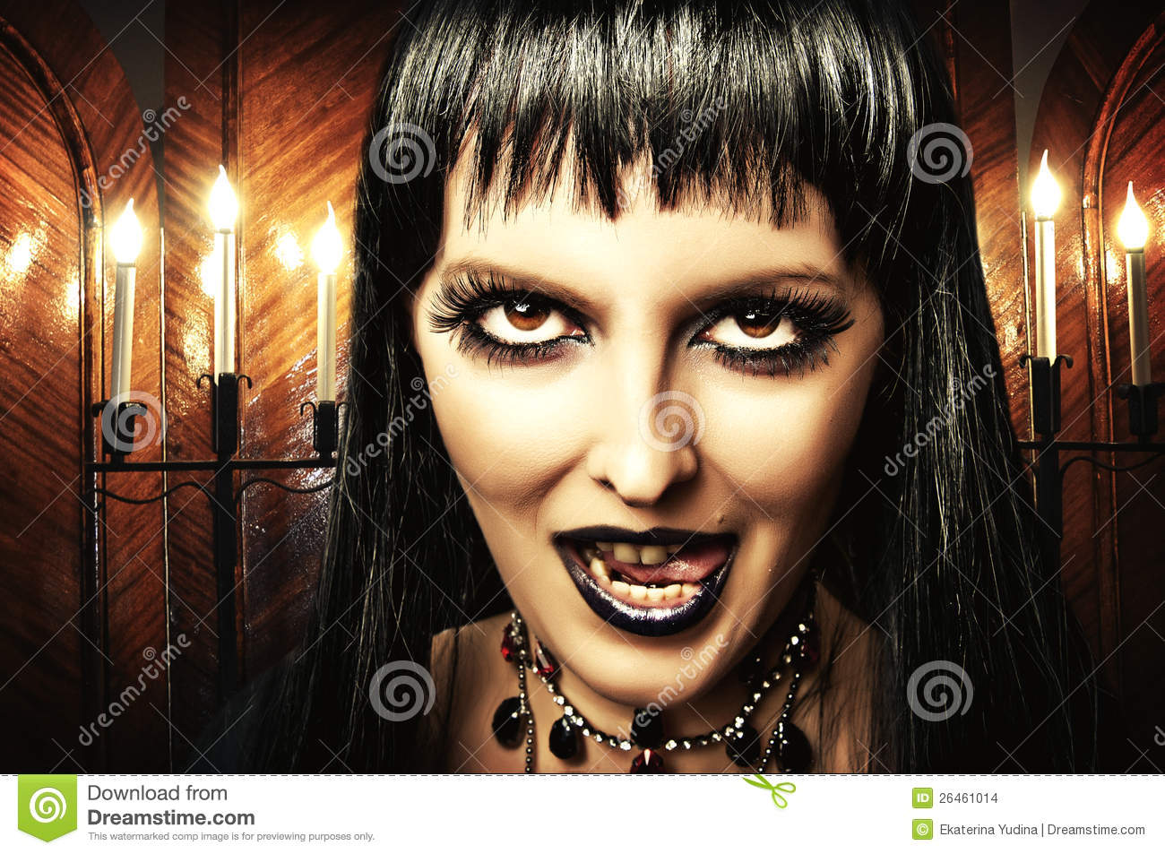 Brunette Woman Witch Gothic Make