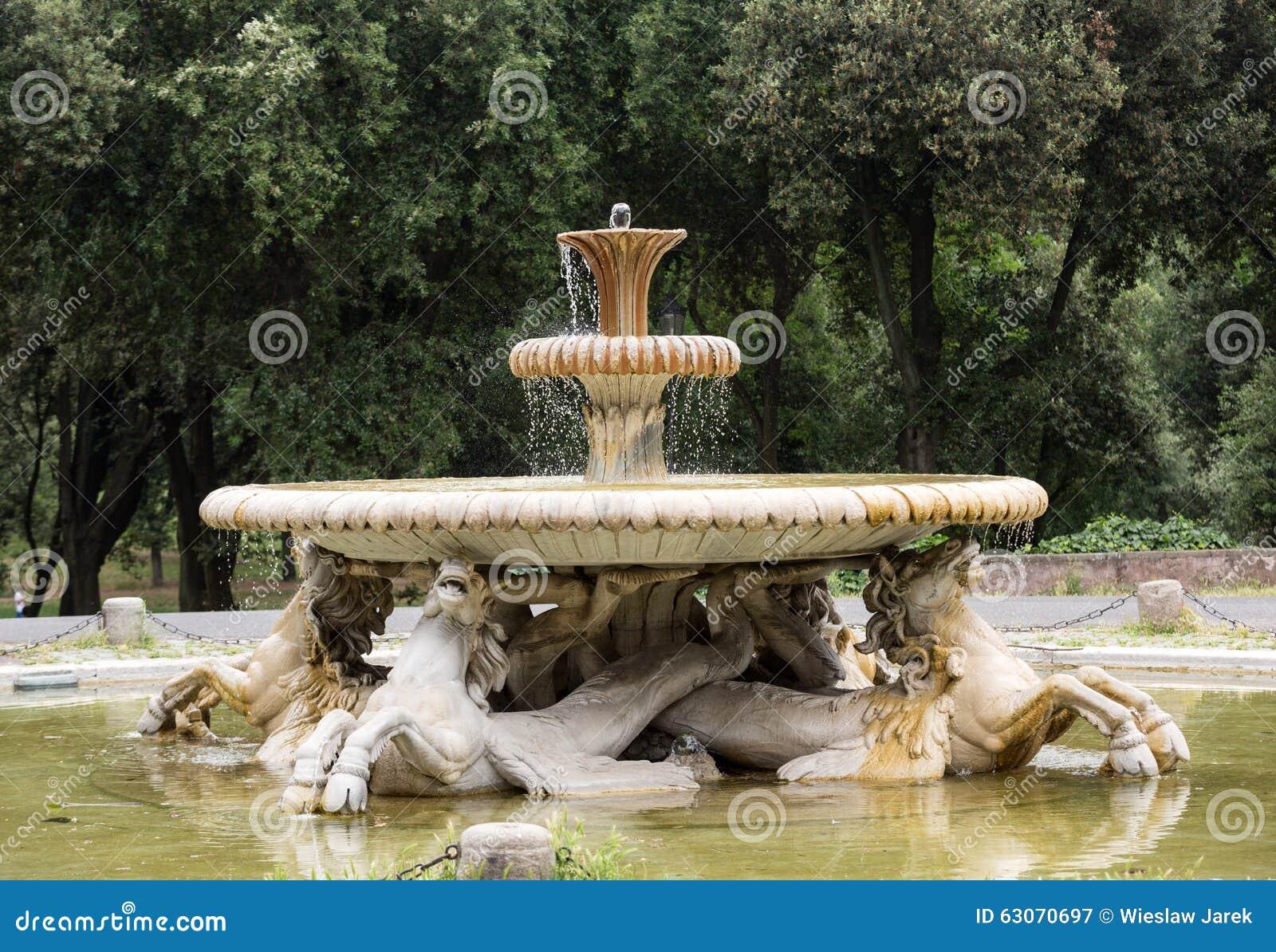 brunnen im garten des landhauses borghese rom stockbild - bild von