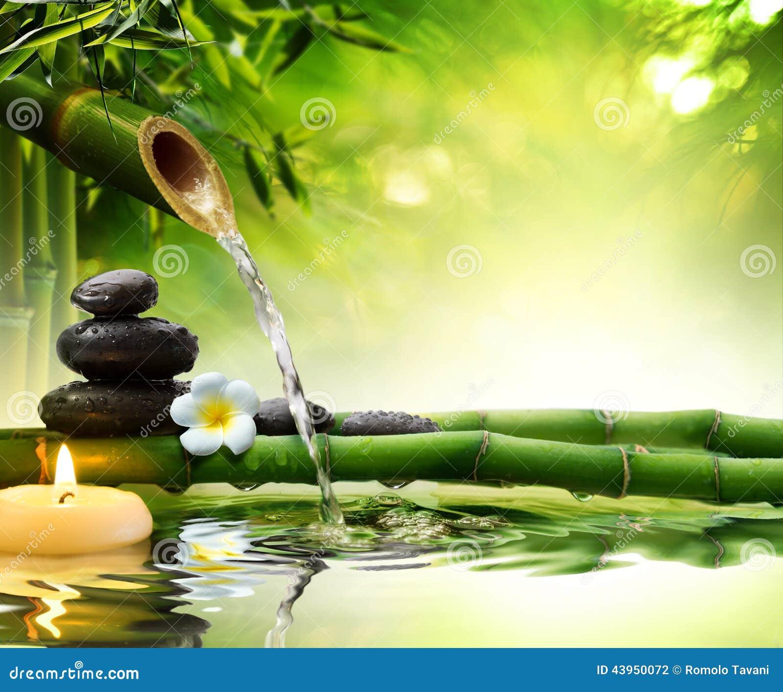 Brunnsortstenar i trädgård med flödesvatten