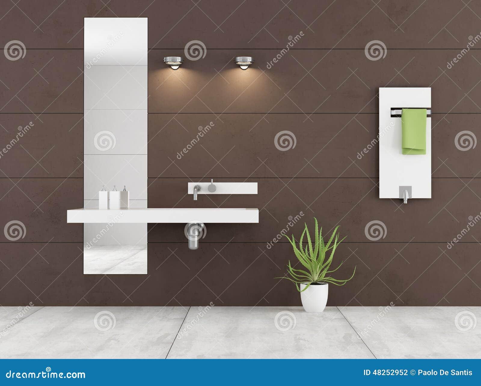 Brunt badrum för Minimalist med den vita handfatet och elementet på ...