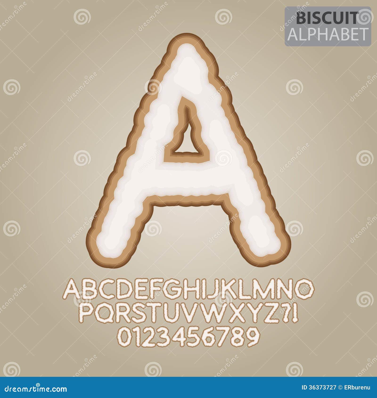Brunt ljusbrunt alfabet och nummervektor