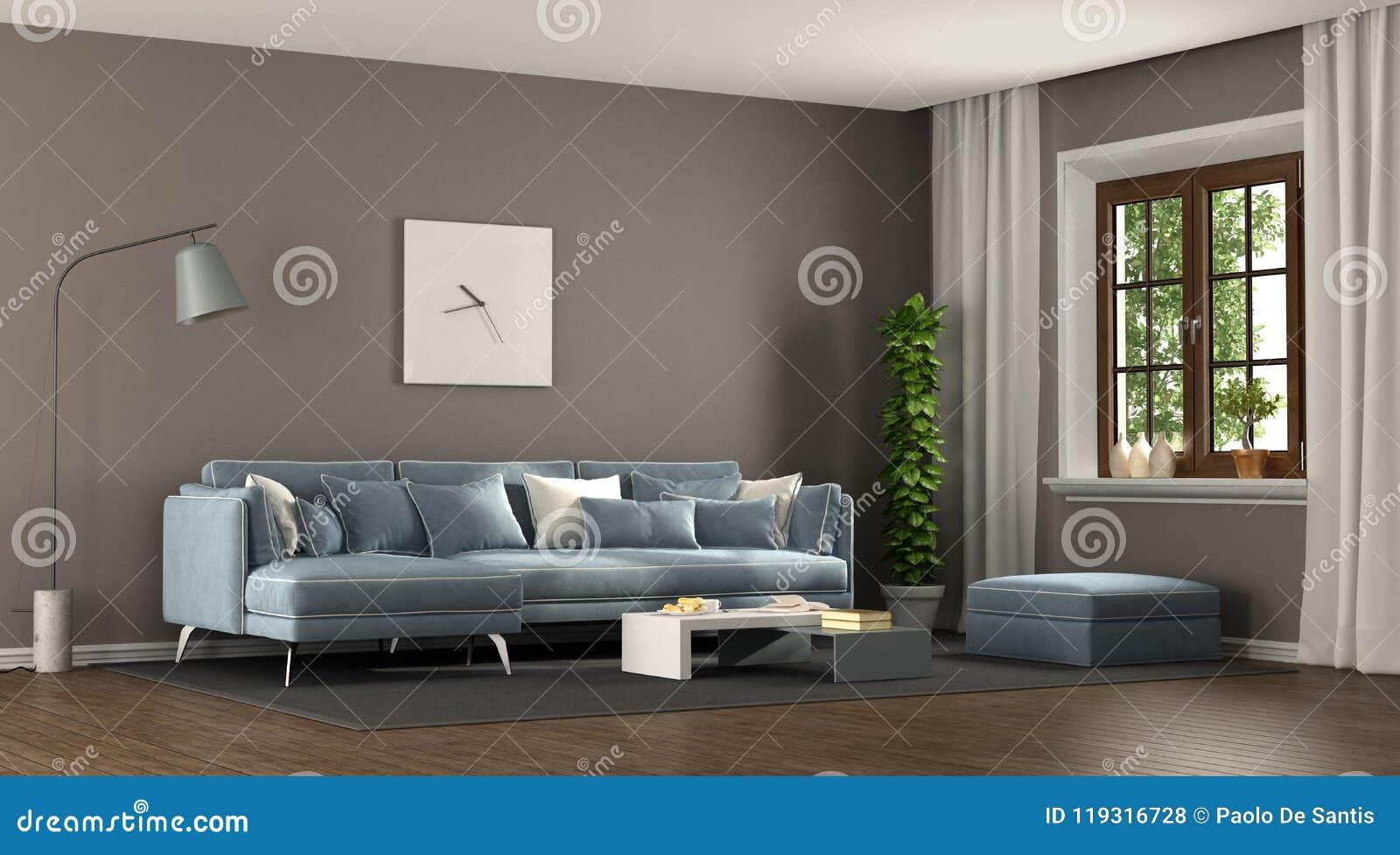 Brunt och blå elegant vardagsrum