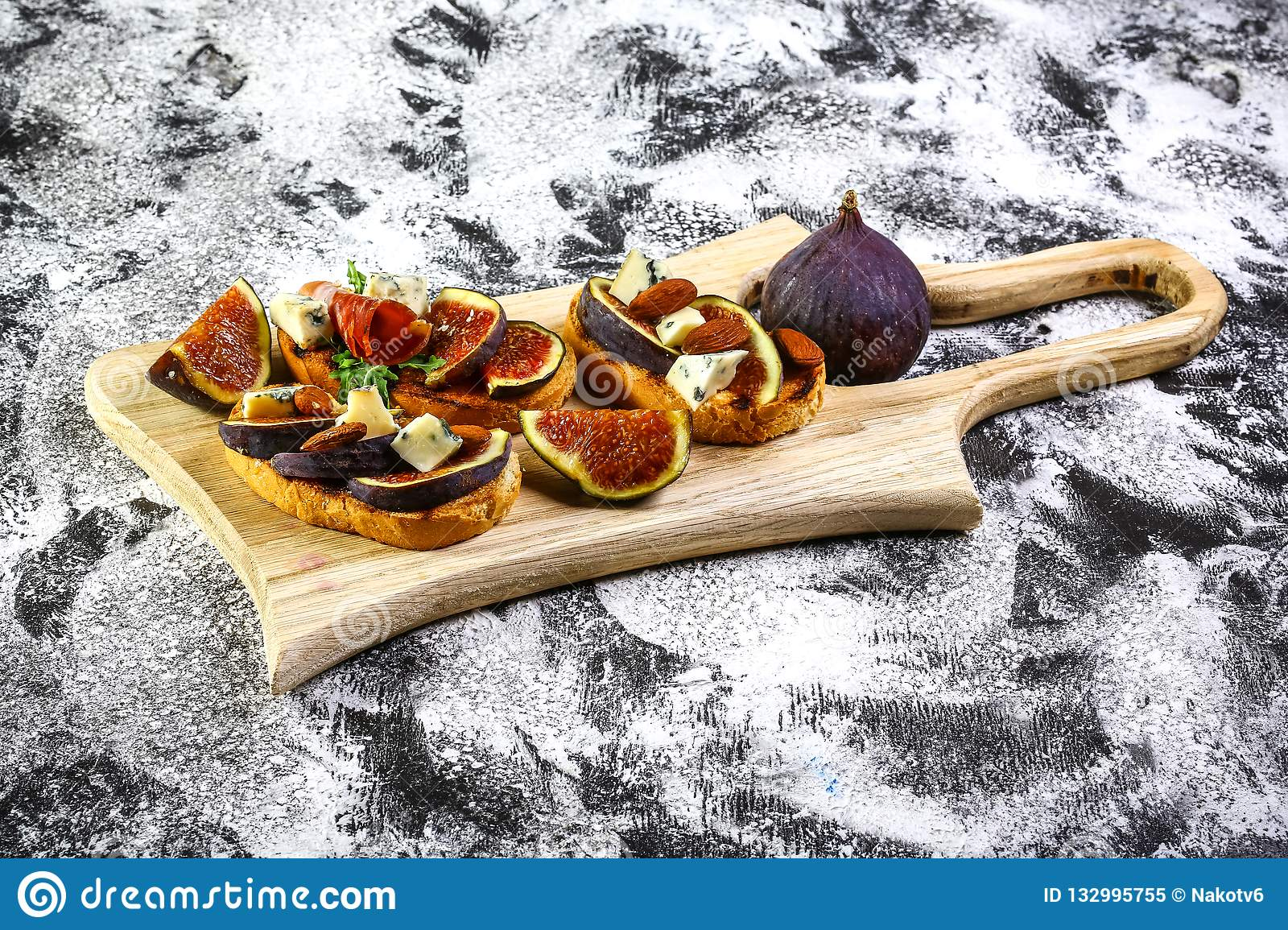 Bruschetta With Figs With Cheese Honey Italian Appetizer Flat Lay