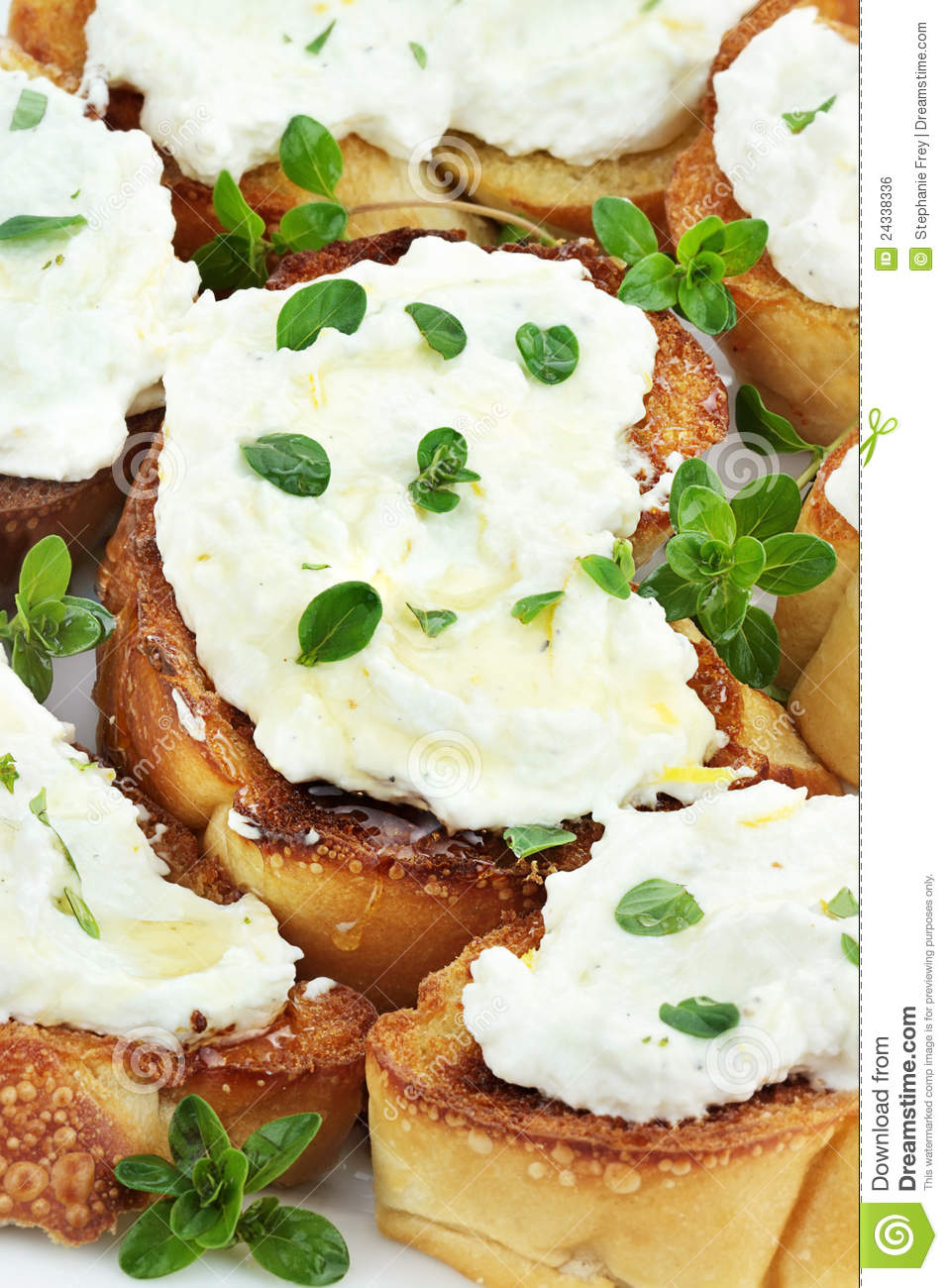 lemon juice and lemon zest bruschetta with ricotta honey and lemon