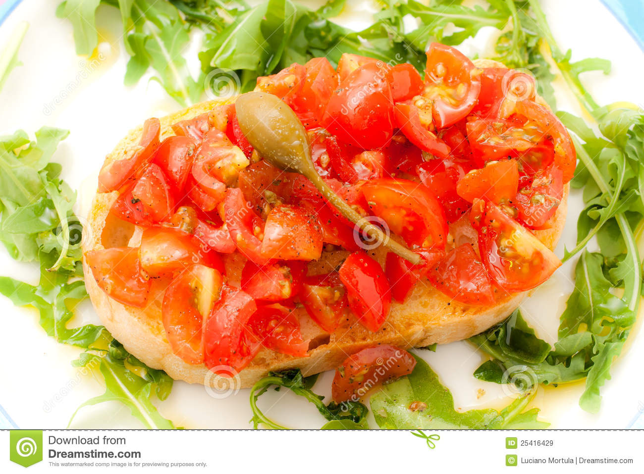 Bruschetta With Tomato, Basil And Caper. Royalty Free Stock Images ...