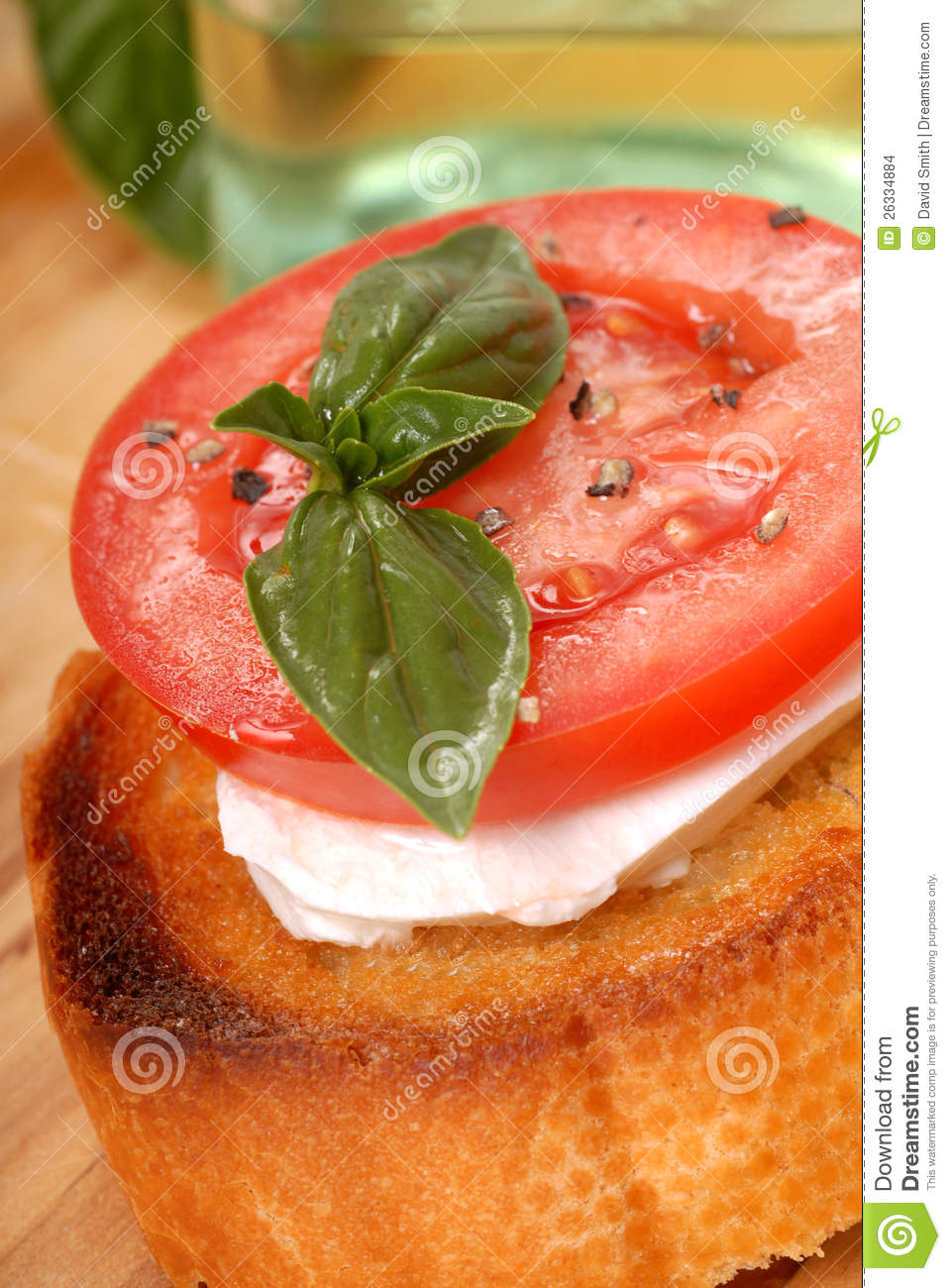 Bruschetta With Tomato, Mozzarella And Basil Stock Images - Image ...