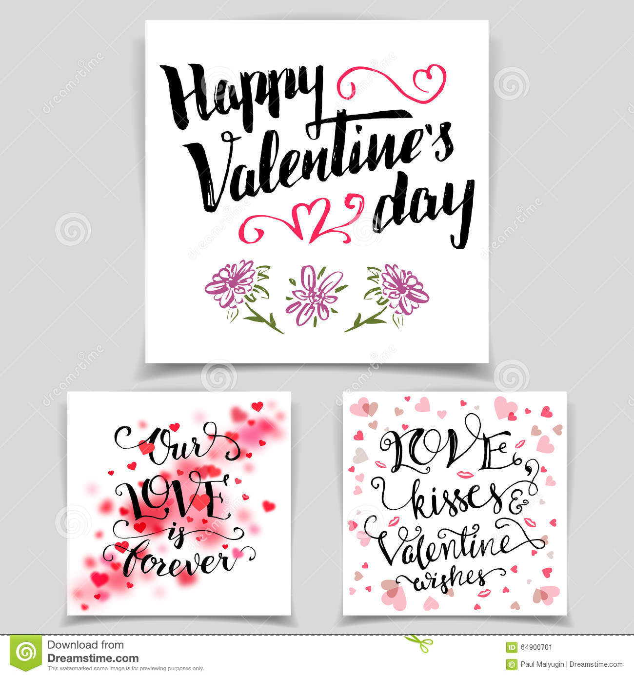 Brush calligraphy love cards set stock vector image