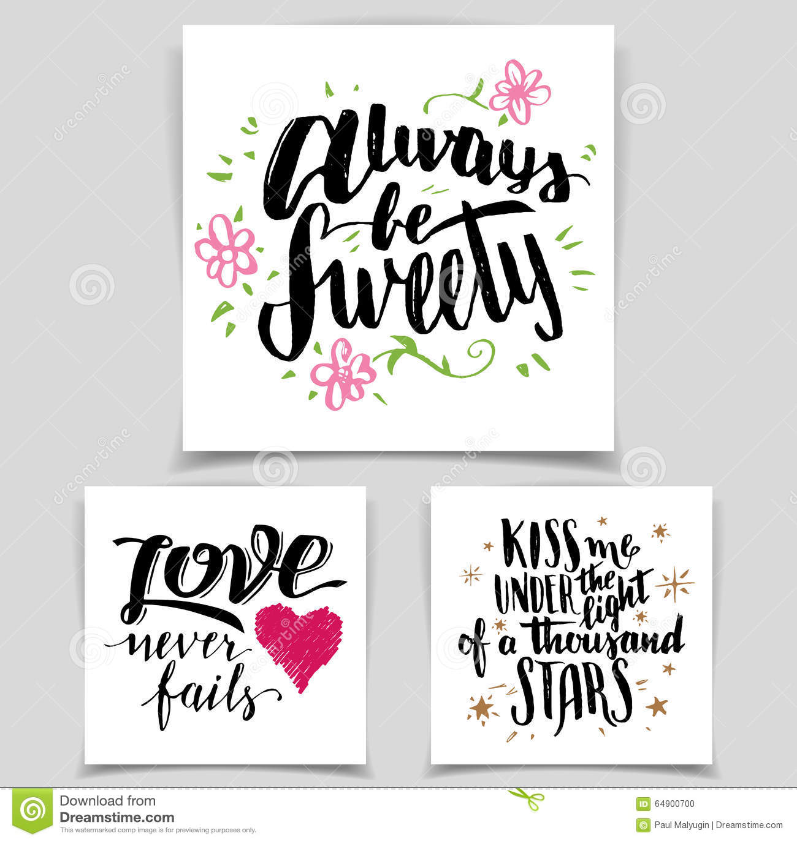 Brush calligraphy love cards set