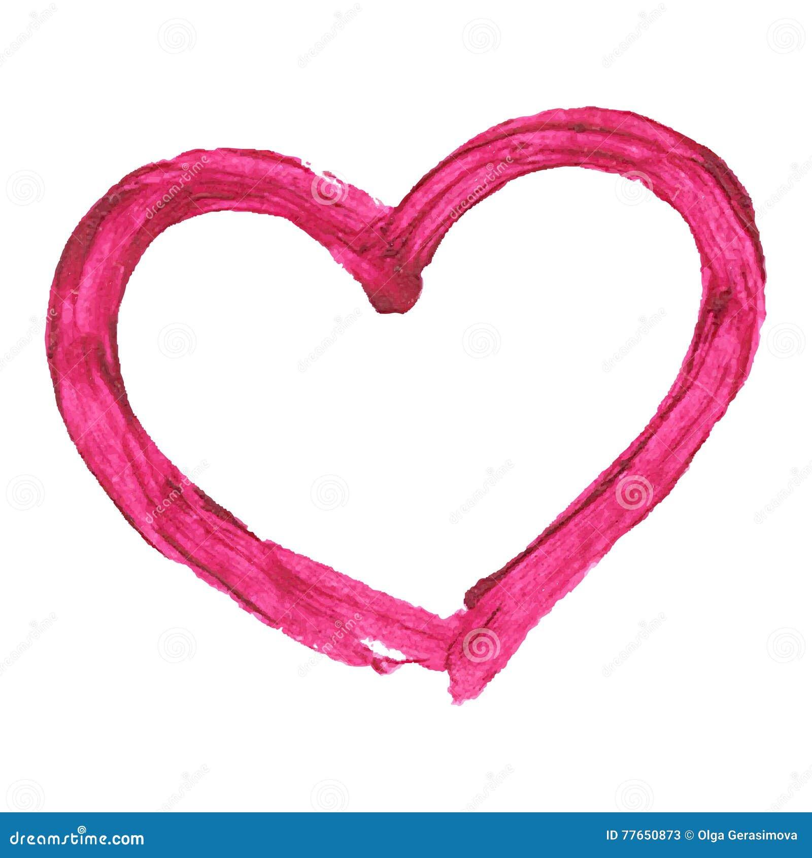Brush drawing lipstick vector heart, on white