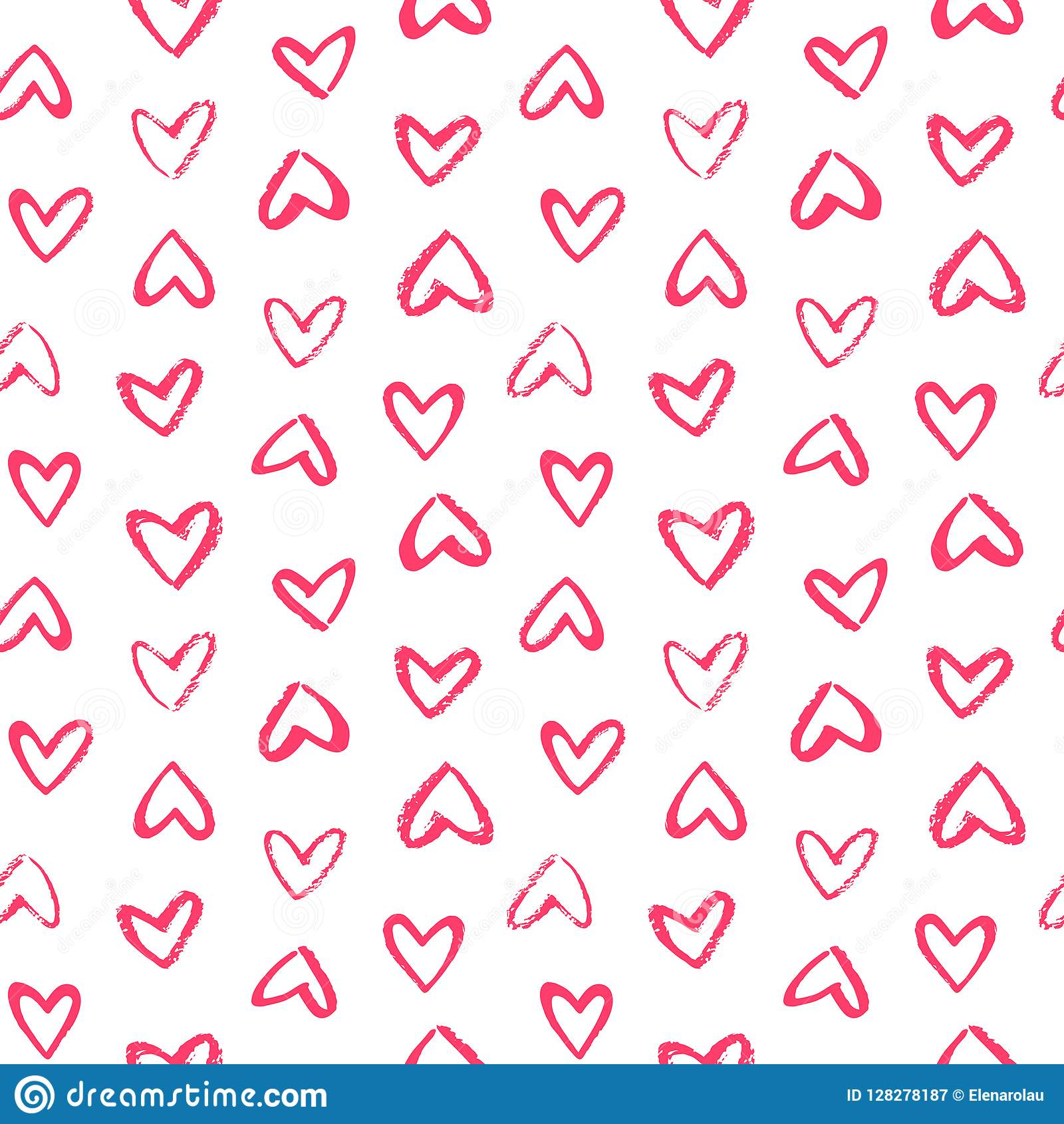 Brush Drawn Doodle Style Hearts Seamless Valentine Day Pattern Stock