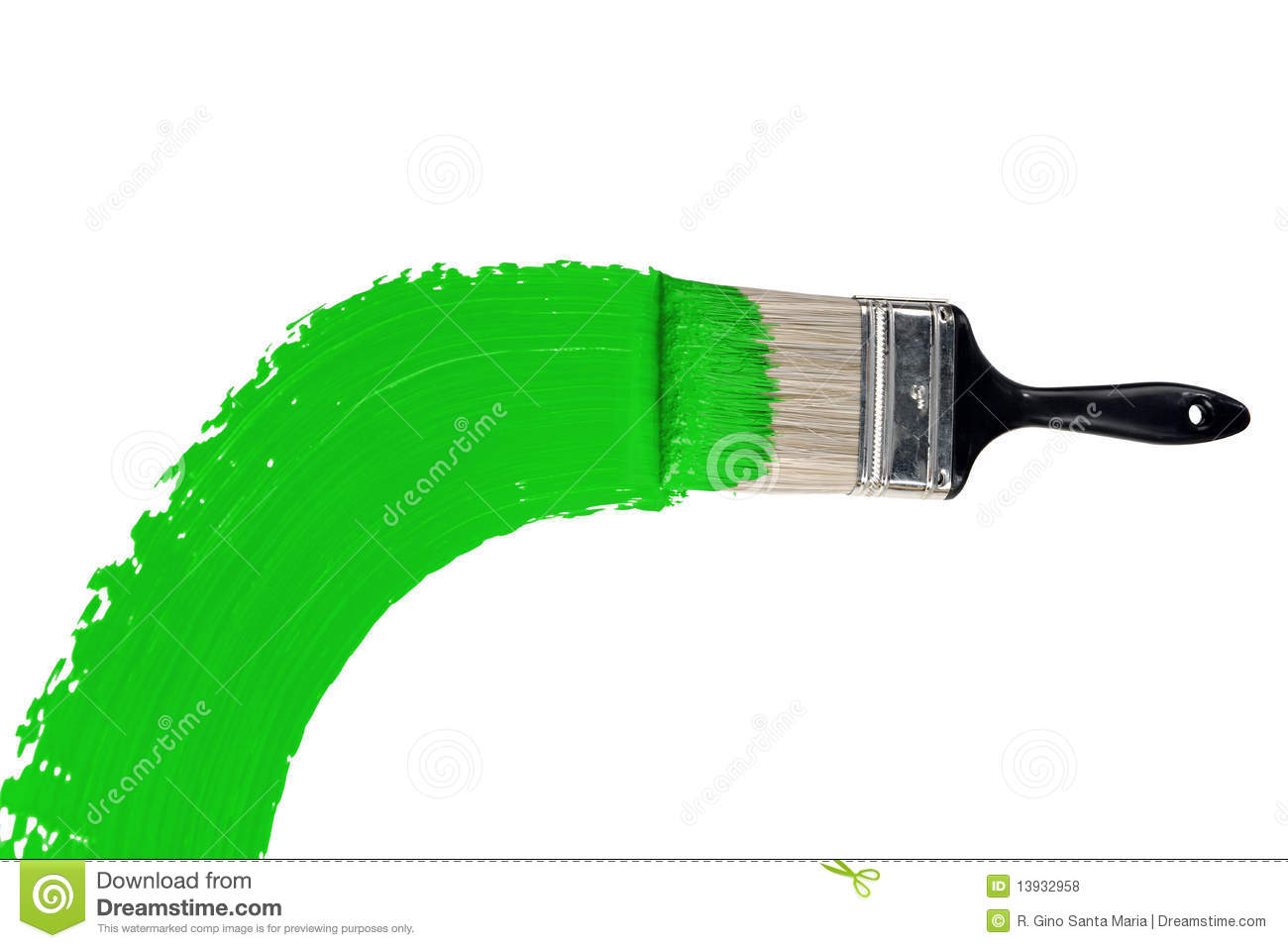 Brush With Green Paint Stock Photo Image Of Paint Handle