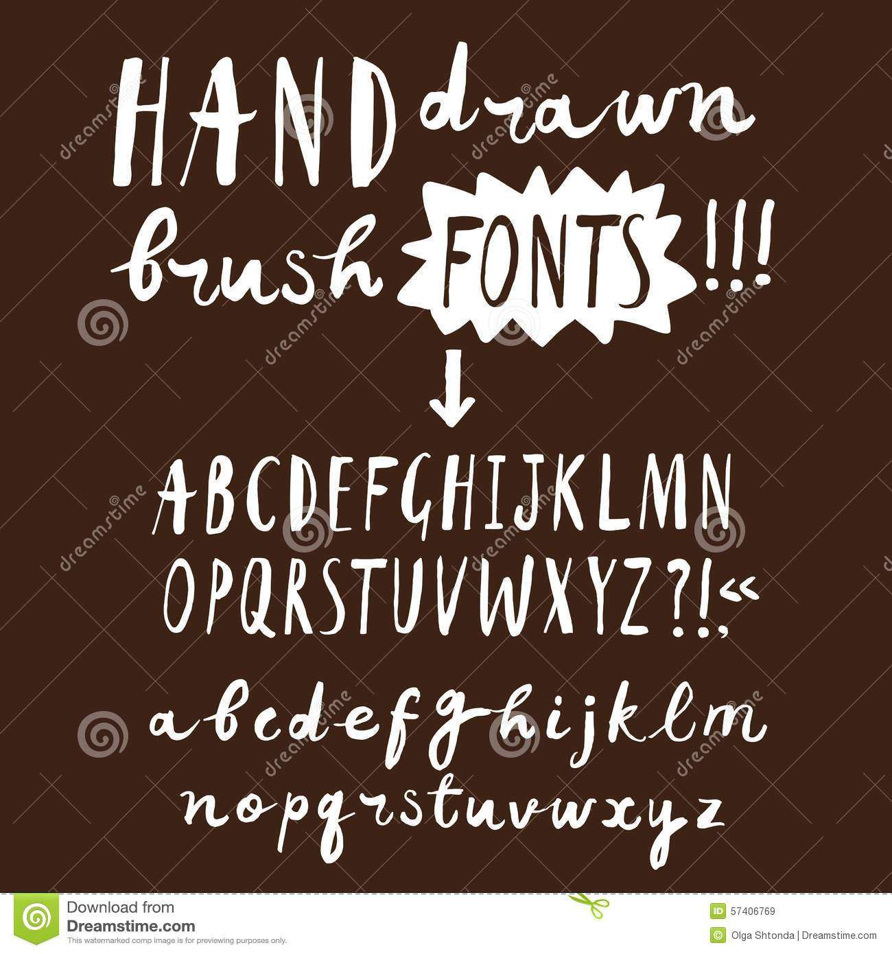 Hand Drawn Brush Ink ABC Upper And Lower Case Letters Set Doodle Comic Font For Your Design