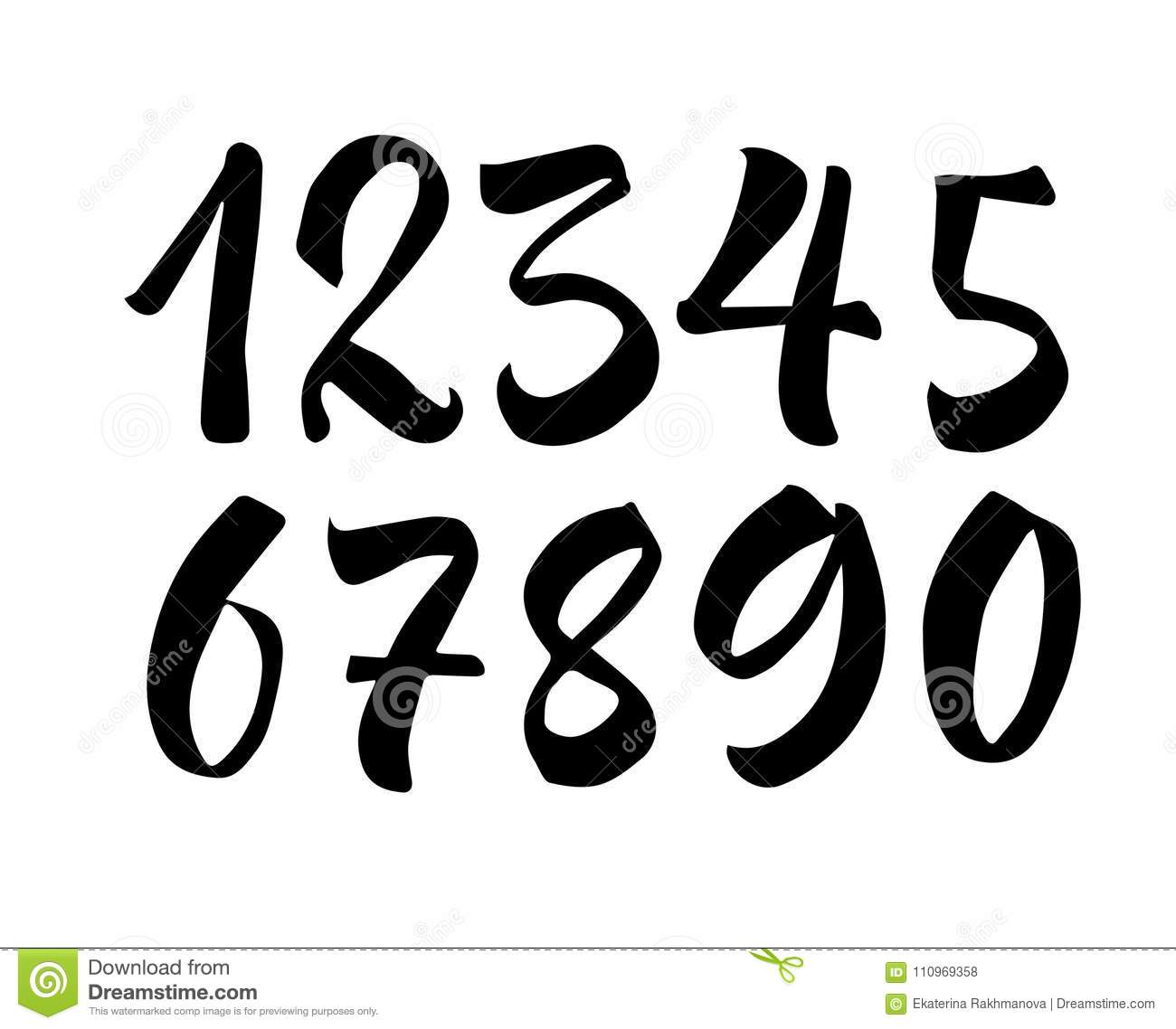 Portaoggetti Design Letters Numbers : Brush lettering numbers modern calligraphy handwritten