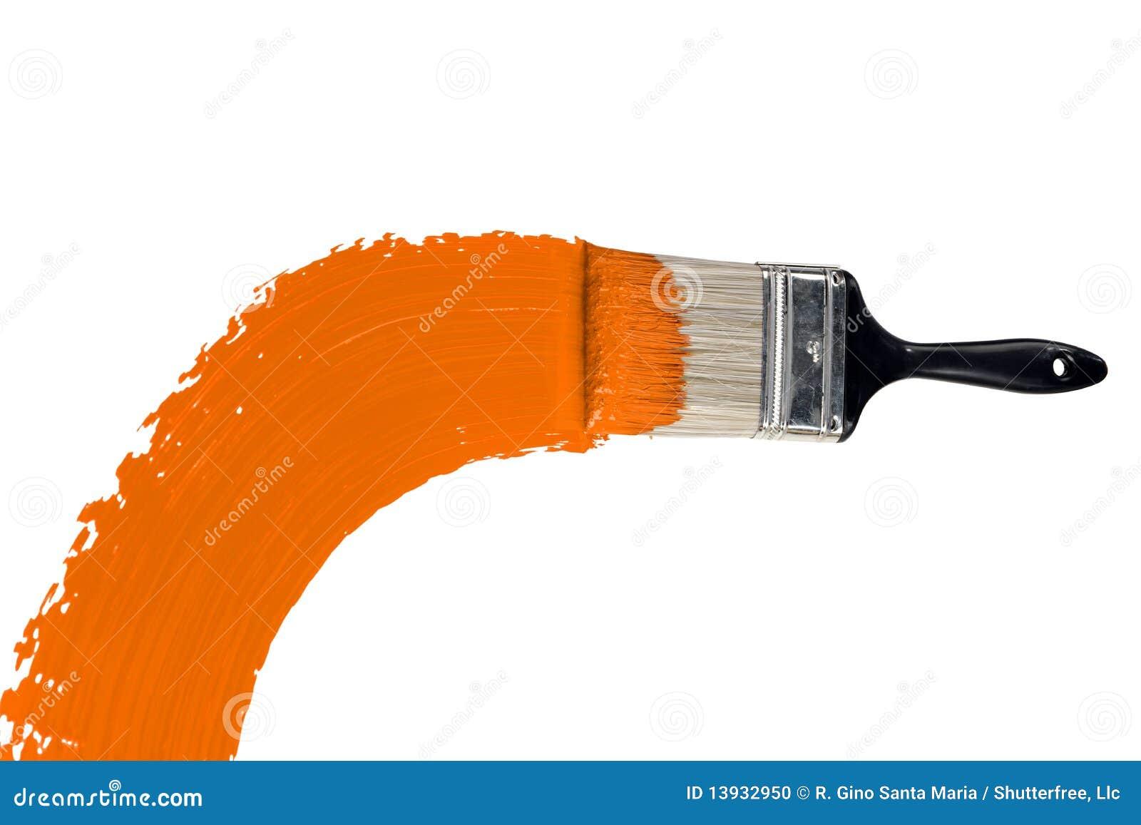 Orange Paint brush painting wall with orange paint stock images - image: 14096314