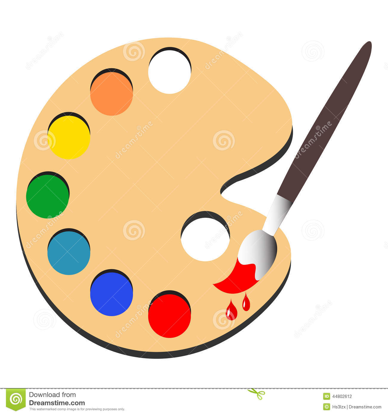 Brush Paint With Palette Paint Vector Stock Vector