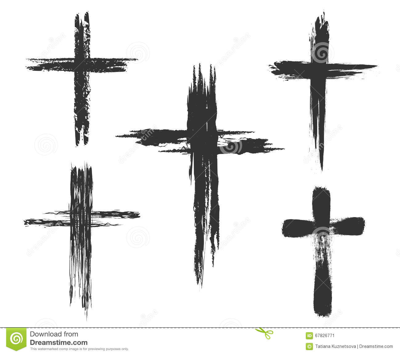 Brush Painted Cross Icons Stock Vector Illustration Of