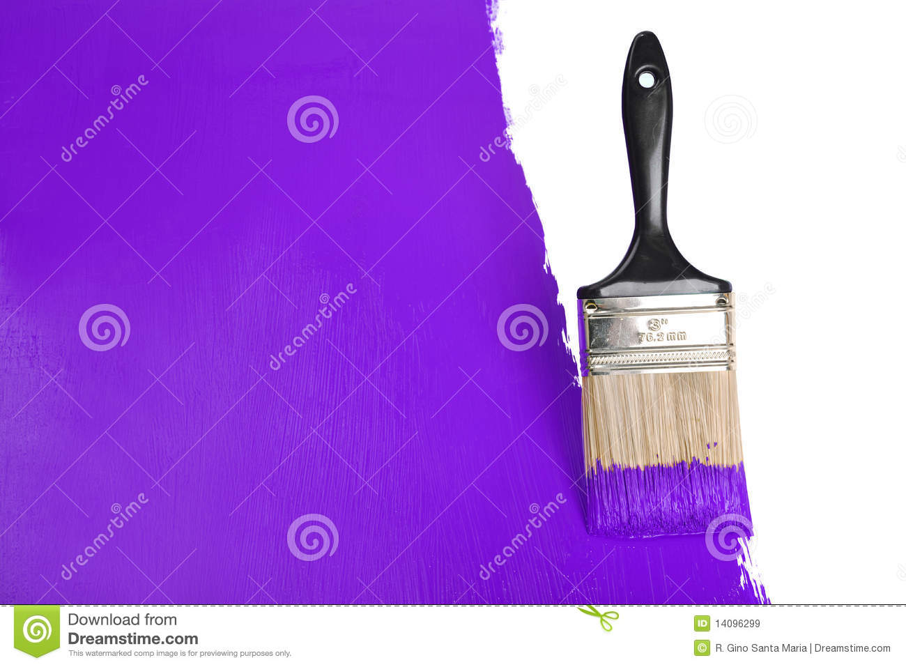 Brush Painting Wall With Purple Paint Royalty Free Stock