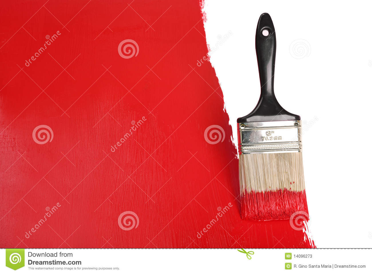 Brush Painting Wall With Red Paint