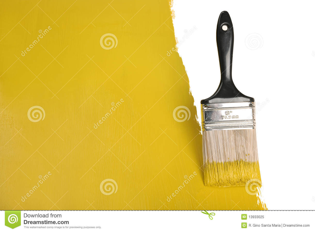 Brush Painting Wall With Yellow Paint Stock Image - Image of paint ...