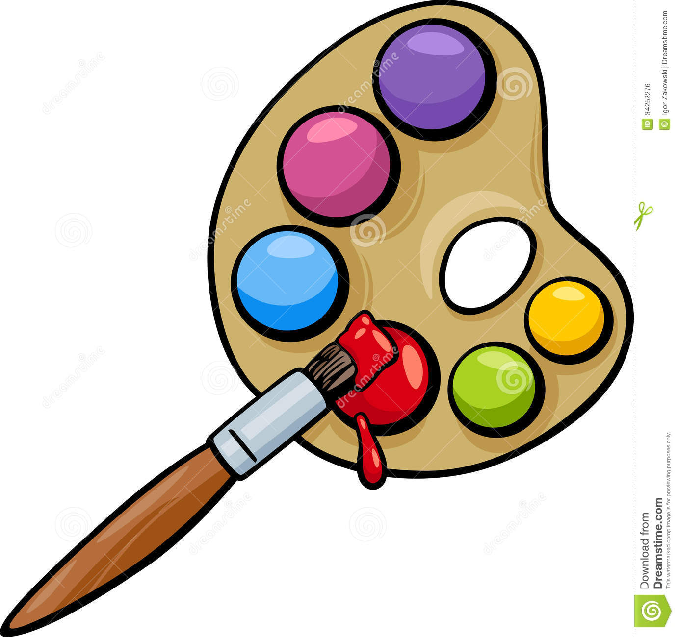 ... Illustration of Art Brush and Palette with Colorful Paints Clip Art
