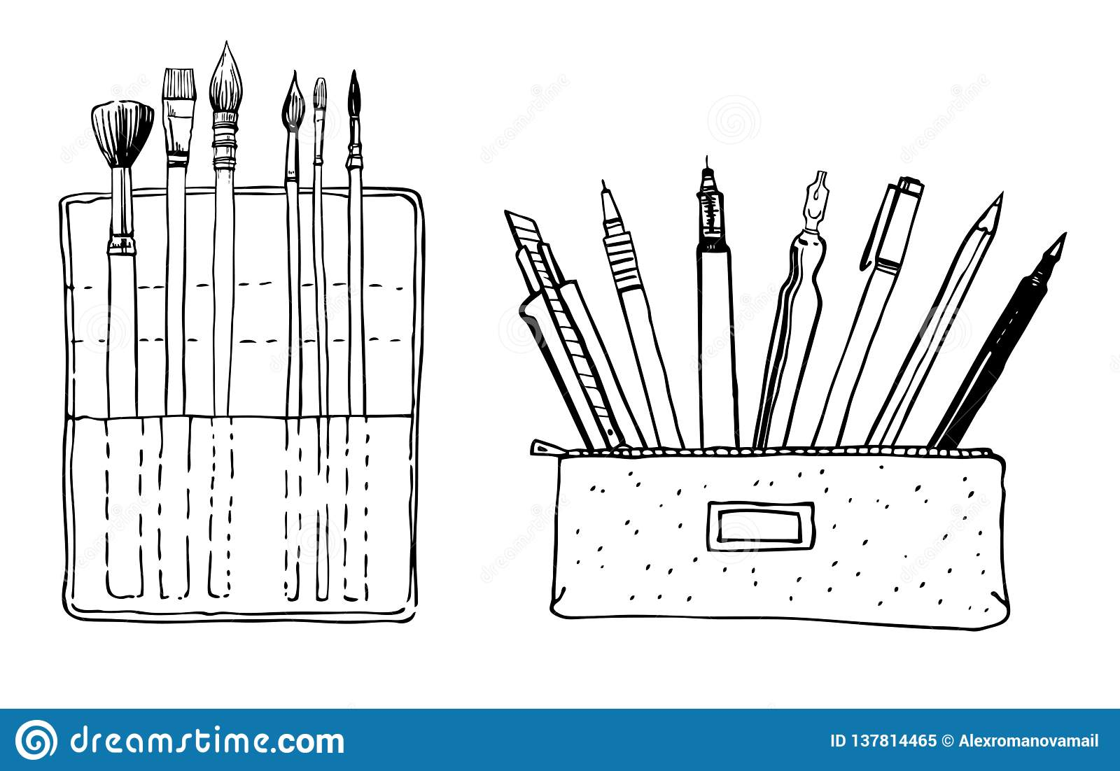Brush and pencil cases set of hand drawn sketch vector