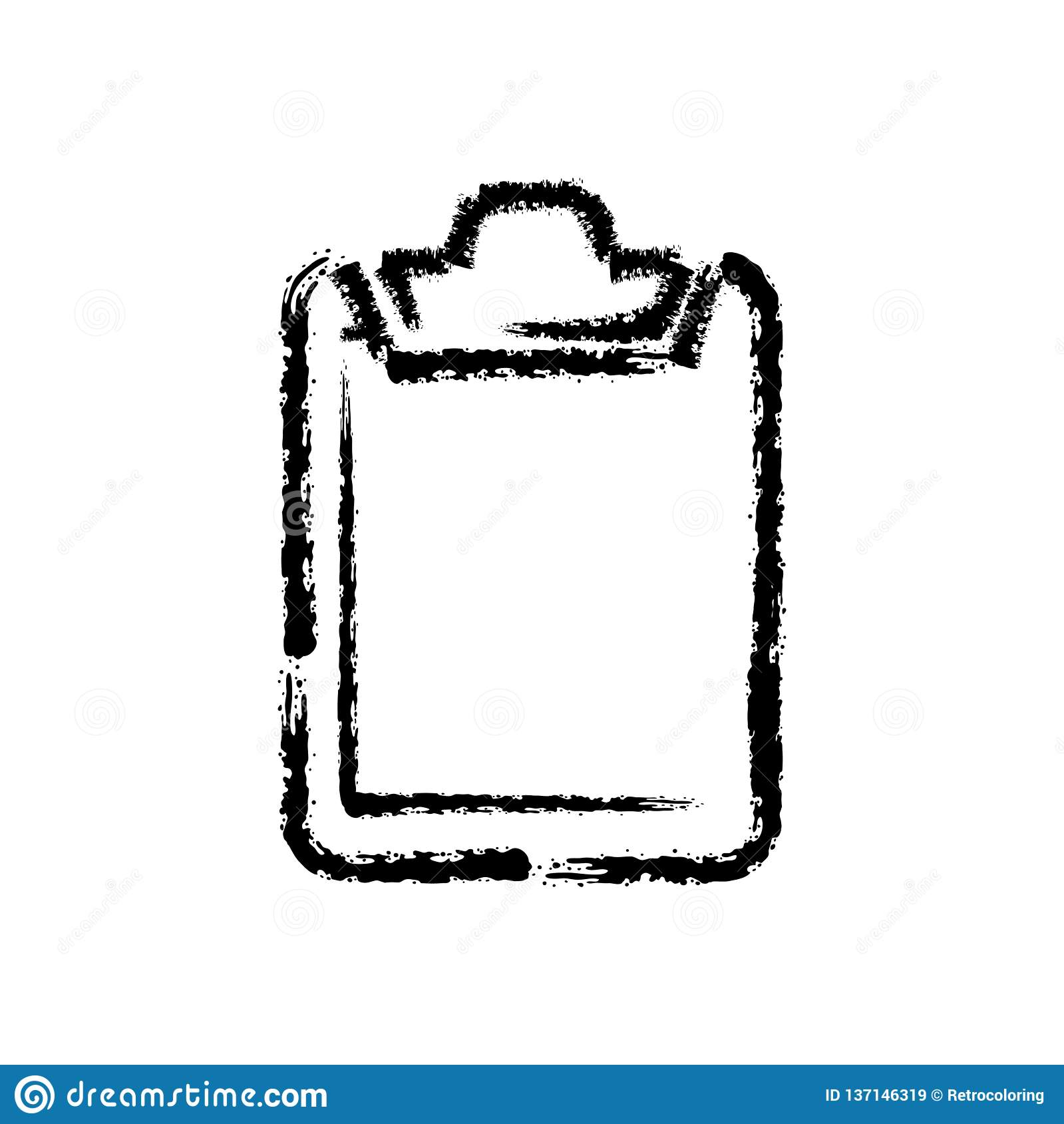 Brush stroke hand drawn icon of clipboard