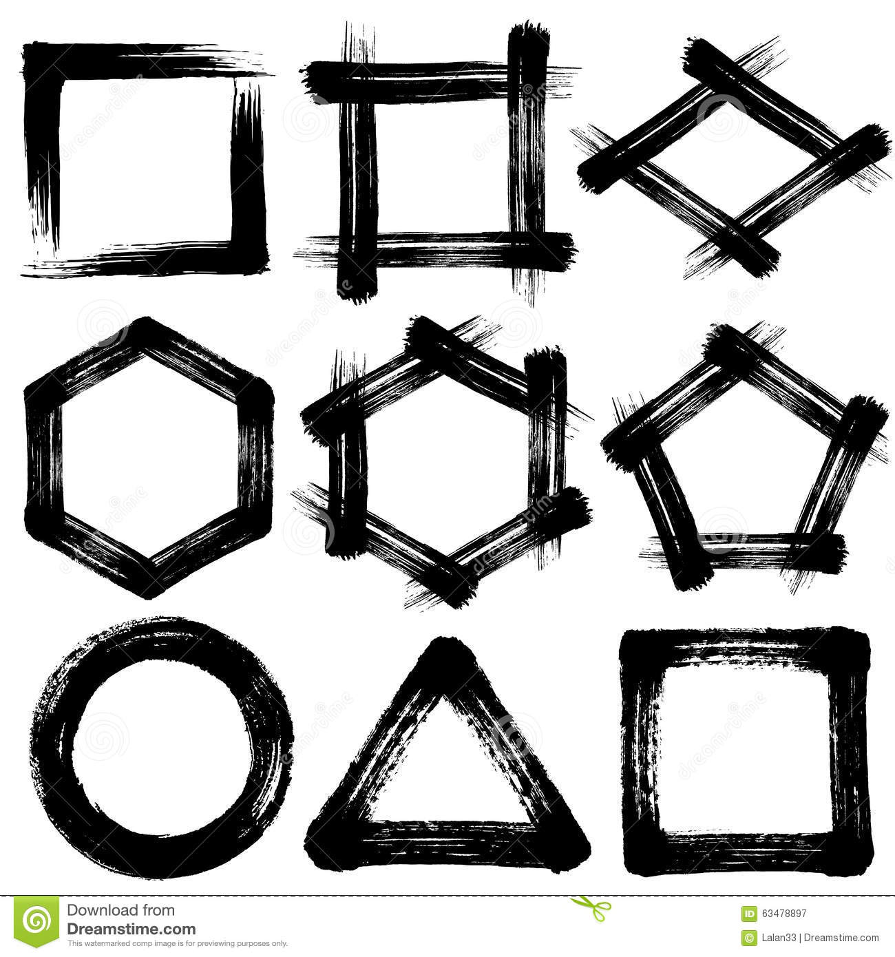 Brush Stroke Icons. Pentagon And Hexagon. Circle Square Triangle ...
