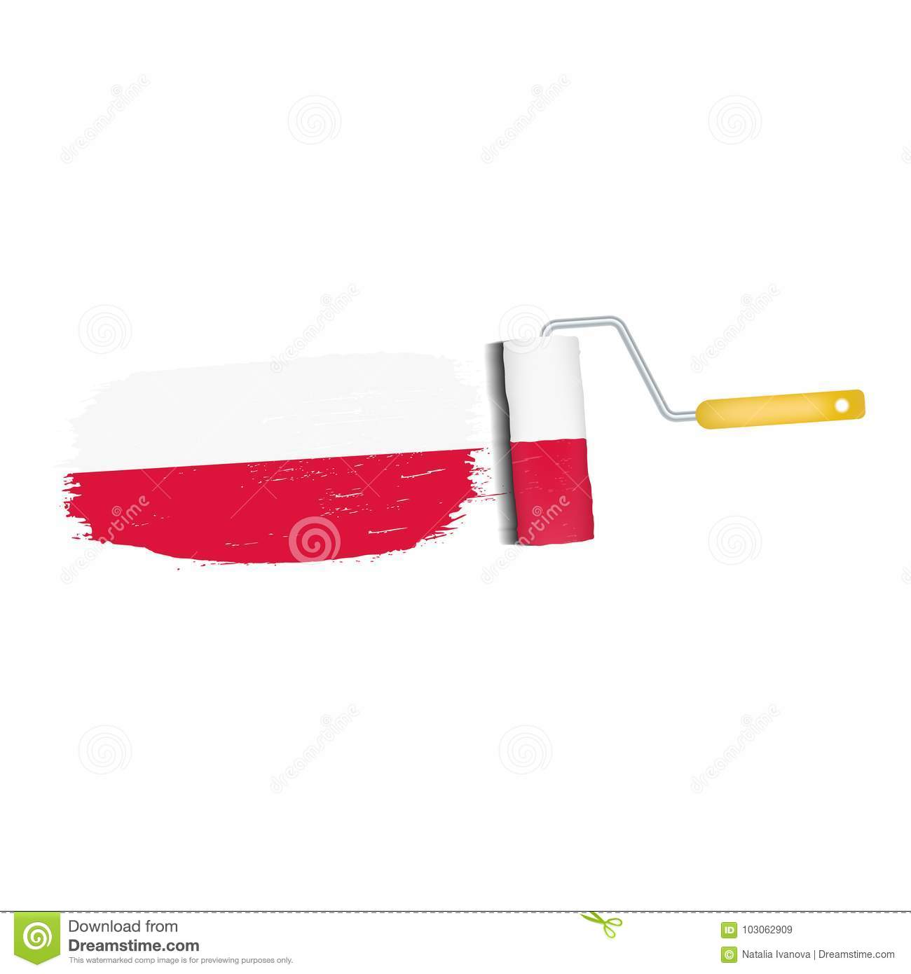 brush stroke with poland national flag isolated on a white