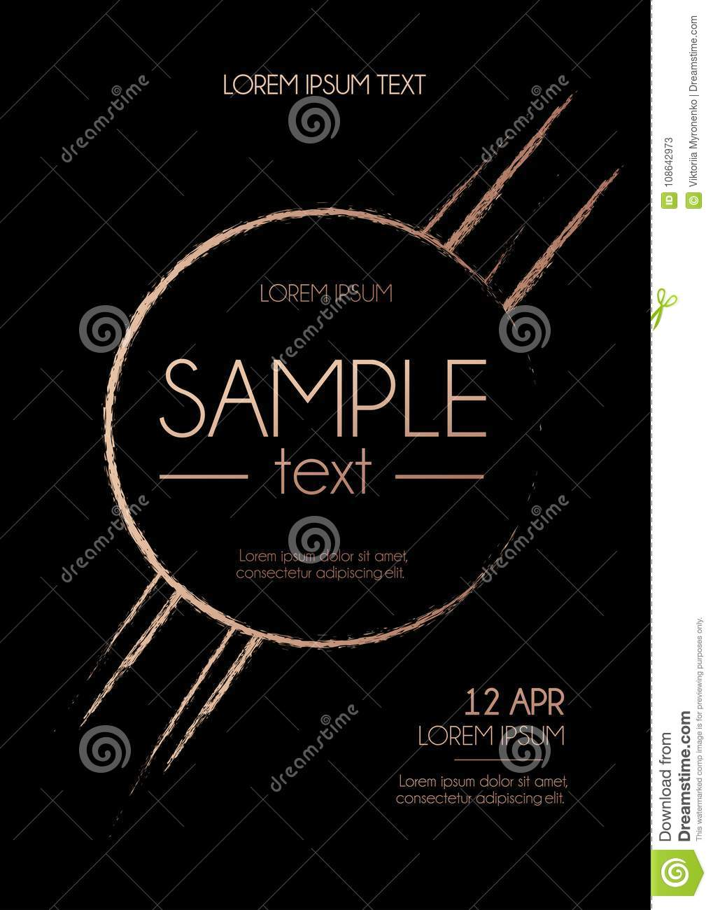 Brush Stroke Rose Gold Design Template Abstract Design For
