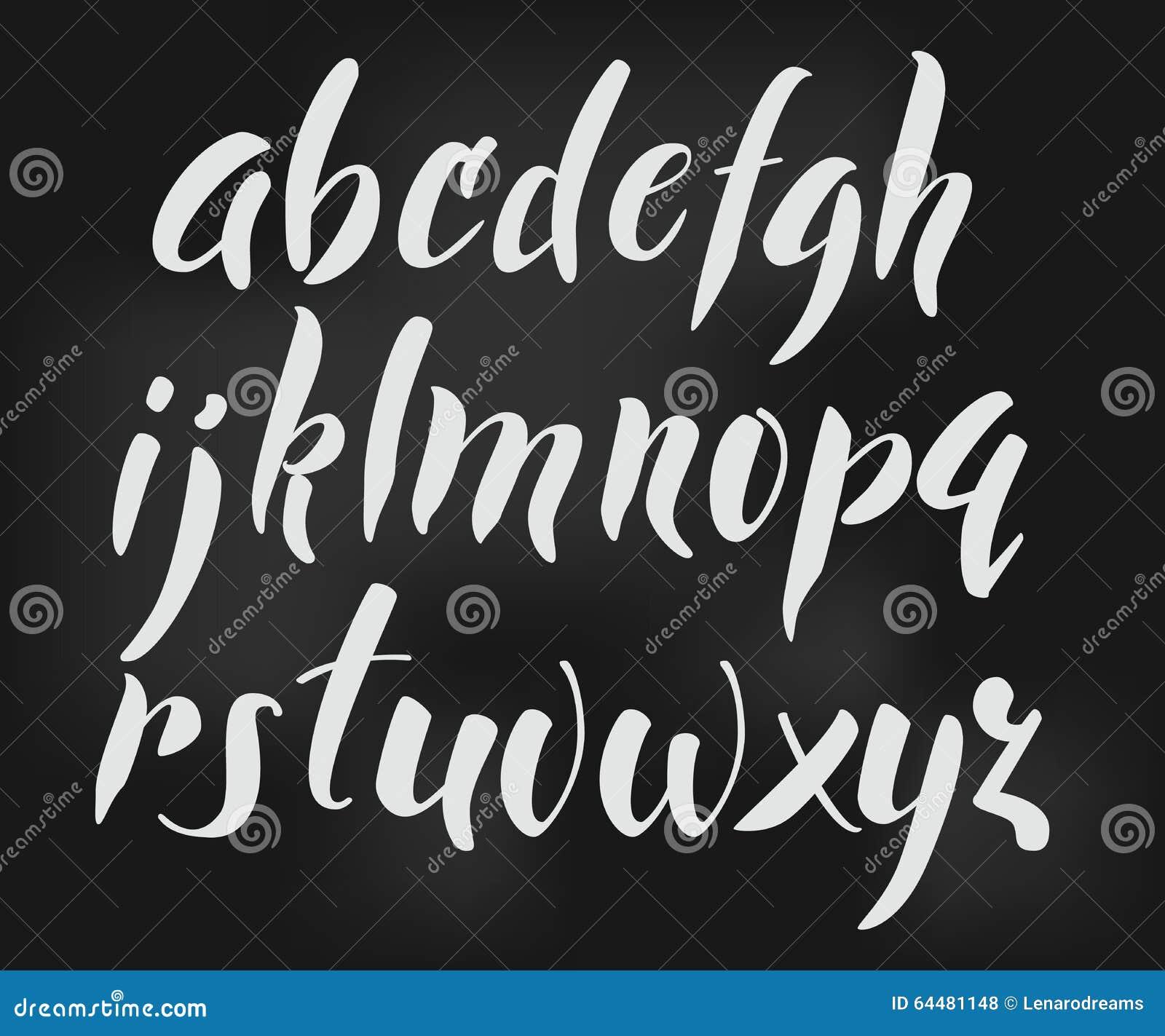 Brush Style Alphabet Calligraphy Low Case Letters Cursive Font Cute For Expressive Retro Lettering