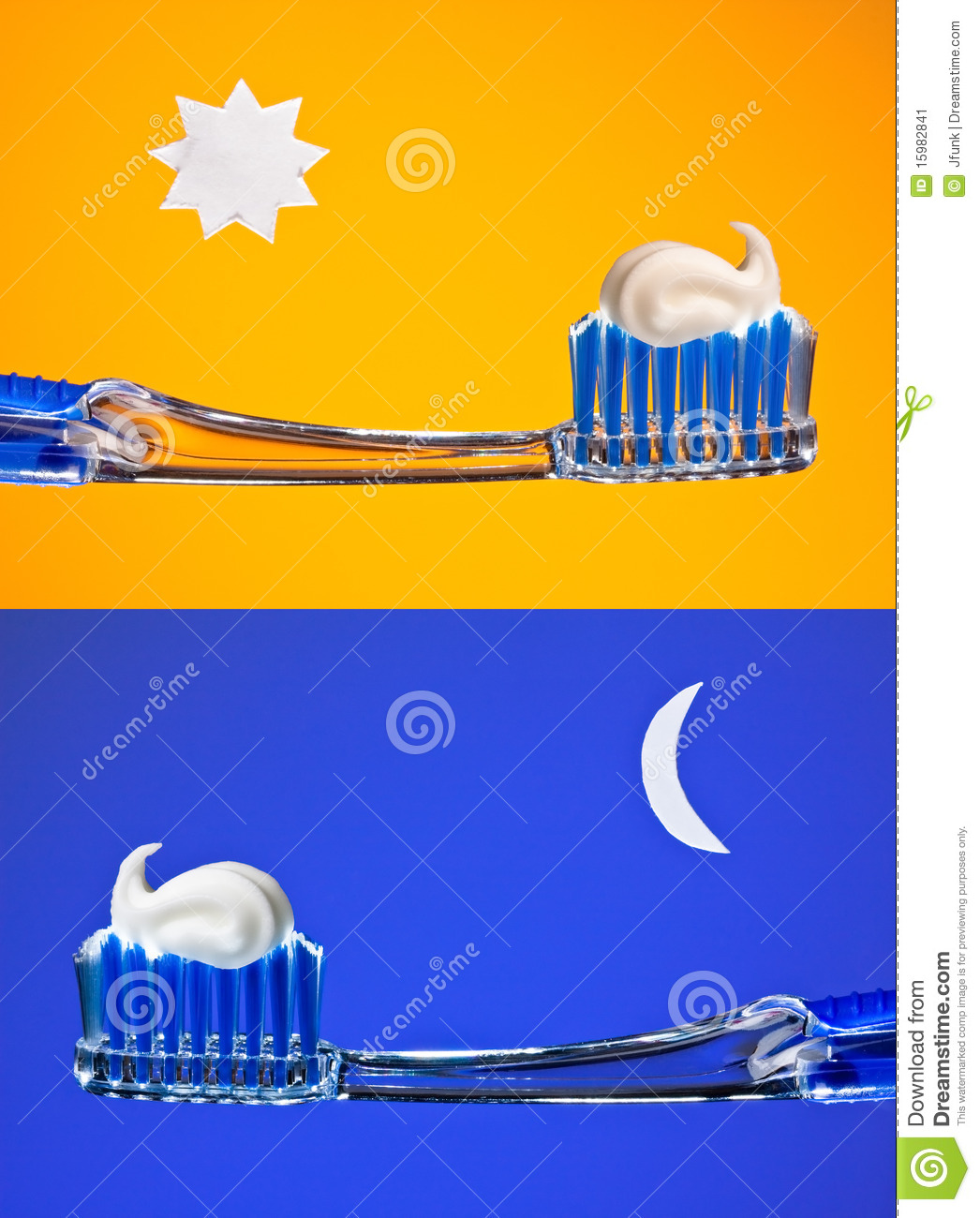 set of shots of a blue toothbrush with white toothpaste. Brush your ...