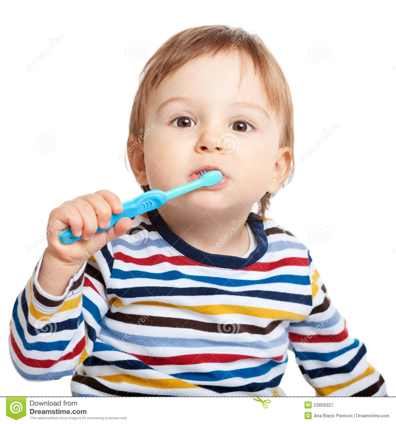 Adorable one year old child learning to brush teeth, isolated on white ...