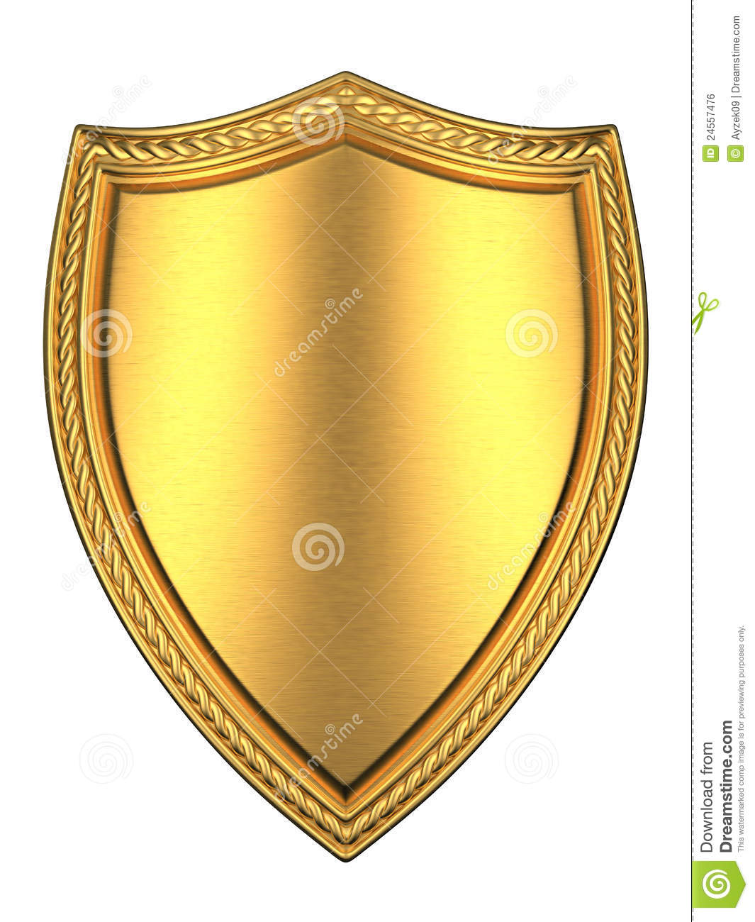 Brushed Gold Shield Royalty Free Stock Image - Image: 24557476