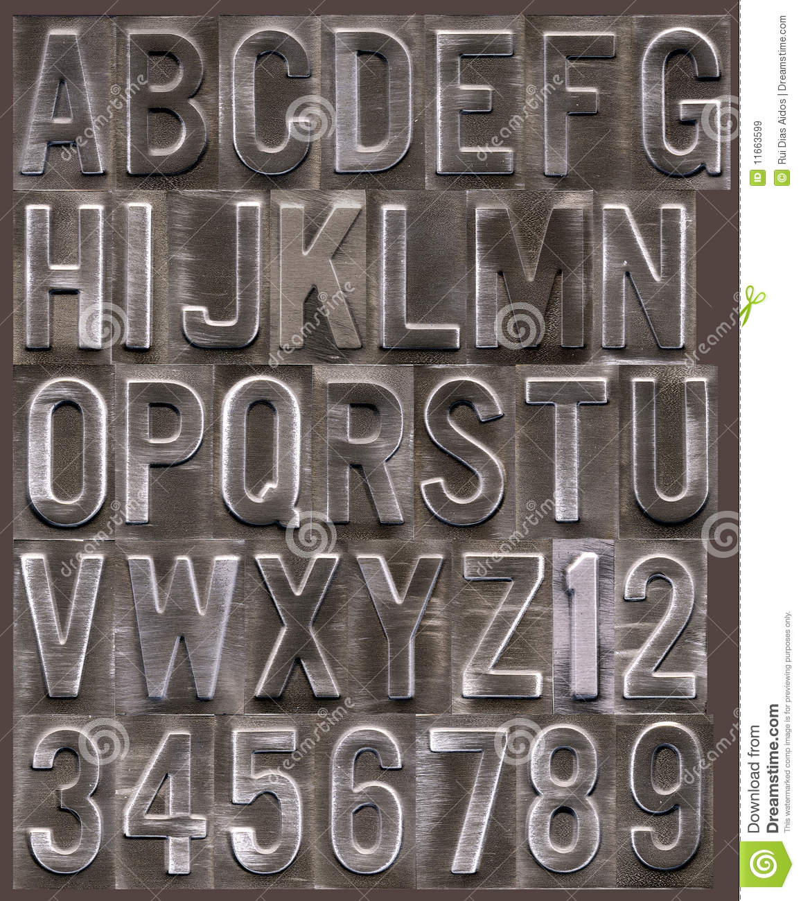 Brushed metal raised alphabet royalty free stock images for Raised metal letters