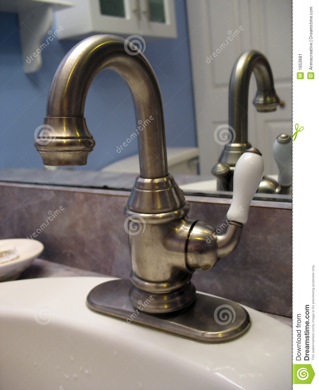 Brushed Nickel Faucet Stock Image Image Of Ceramic Home 1653681