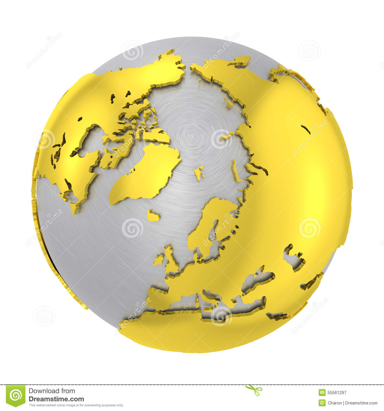 World map with highlighted continents on the globe stock vector brushed steel 3d globe gold earth crust royalty free stock photography gumiabroncs Gallery