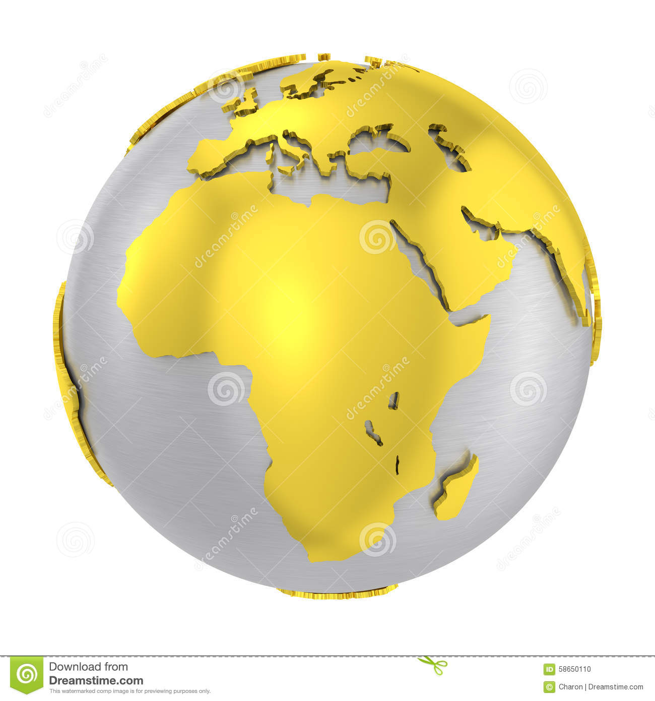 Brushed steel 3d globe gold earth crust stock photo illustration brushed steel 3d globe gold earth crust gumiabroncs Gallery