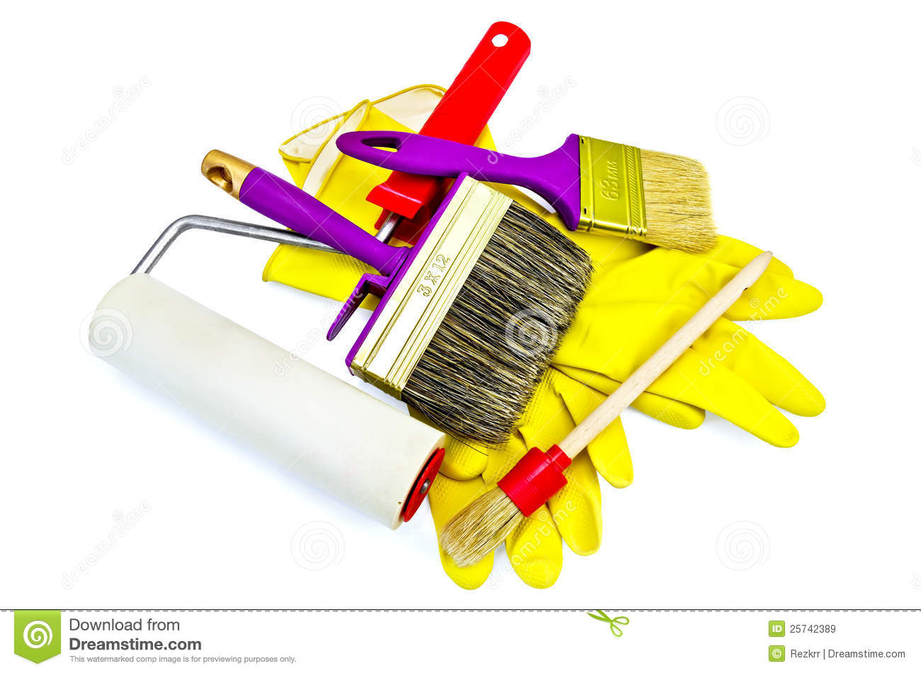 Brushes of various sizes with gloves and roller