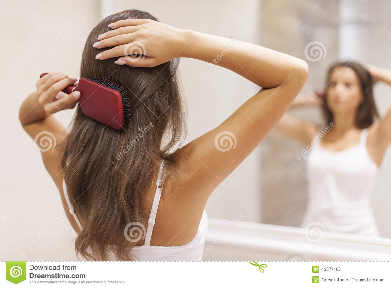 Brushing Hair Stock Photo Image 43077165