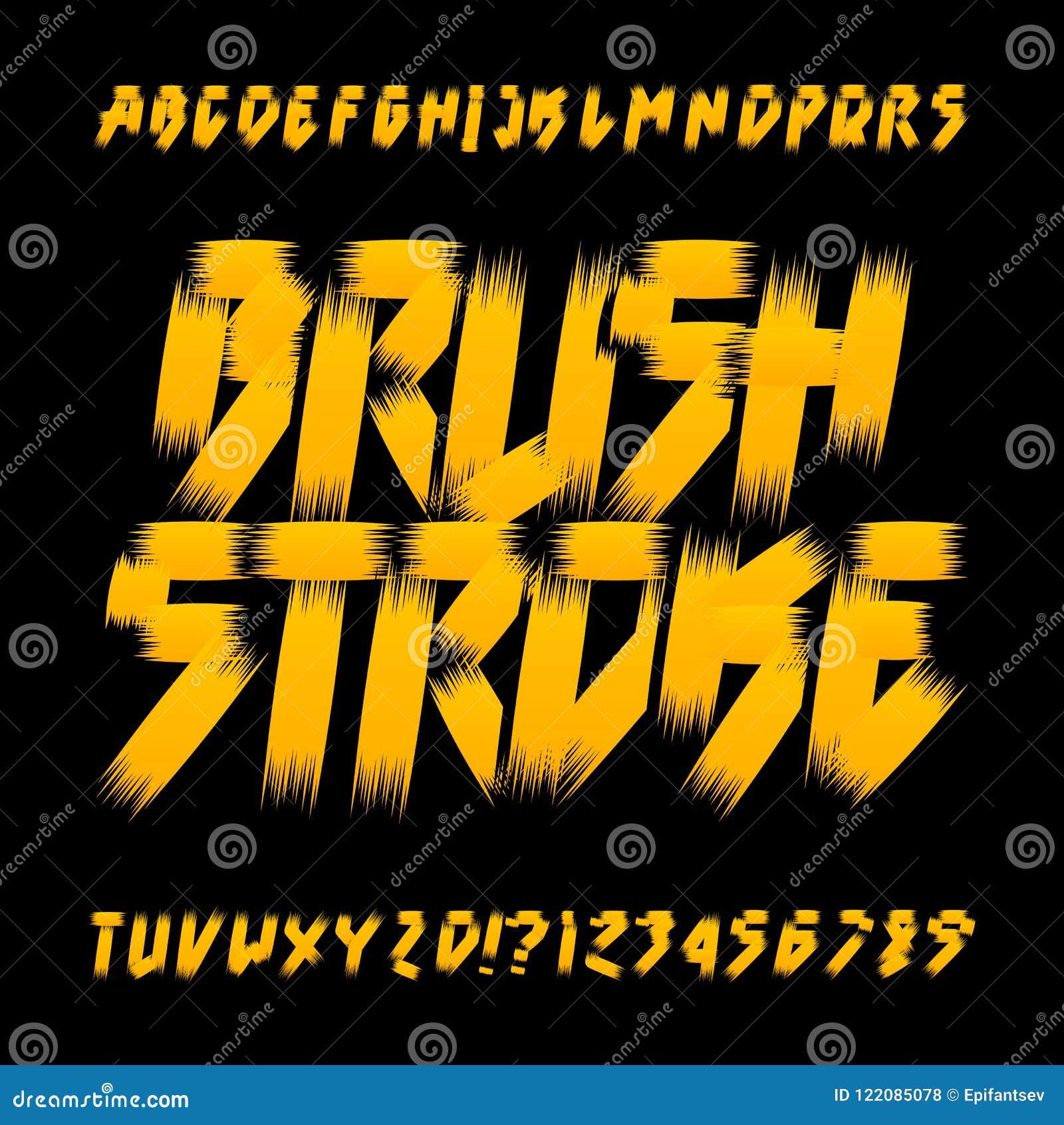 Brushstroke Alphabet Font  Uppercase Messy Grunge Letters  Stock