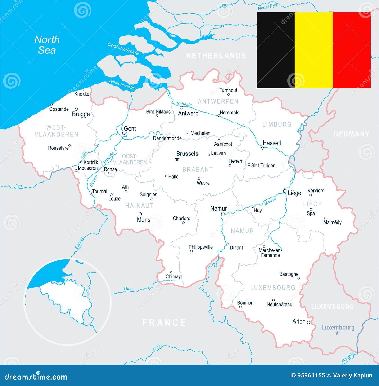 Brussels, Antwerp, Gent, Bruges - Map And Flag Illustration ...