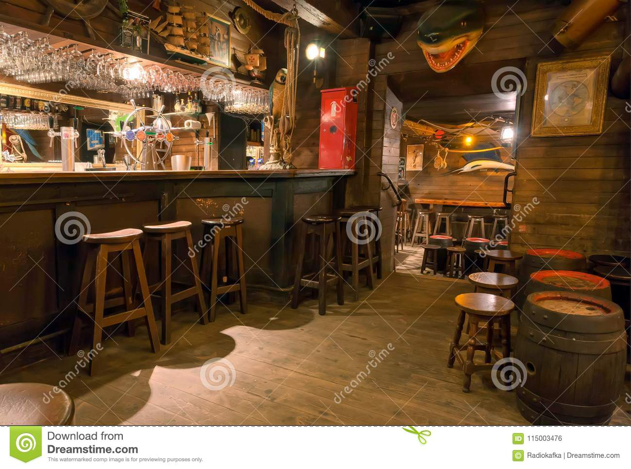 empty bar with old wooden furniture pirate themes decor pub