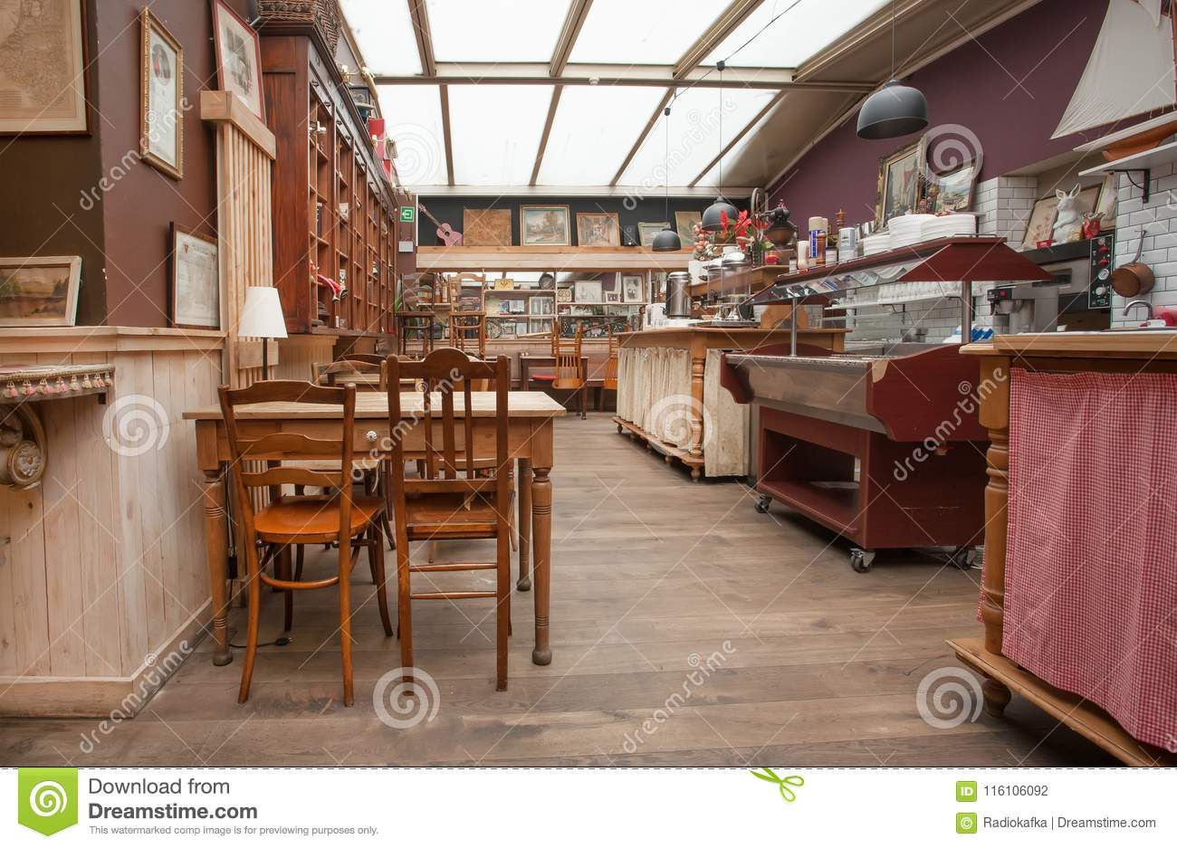 Interior Of Old Canteen In Retro Hotel With Vintage Decor