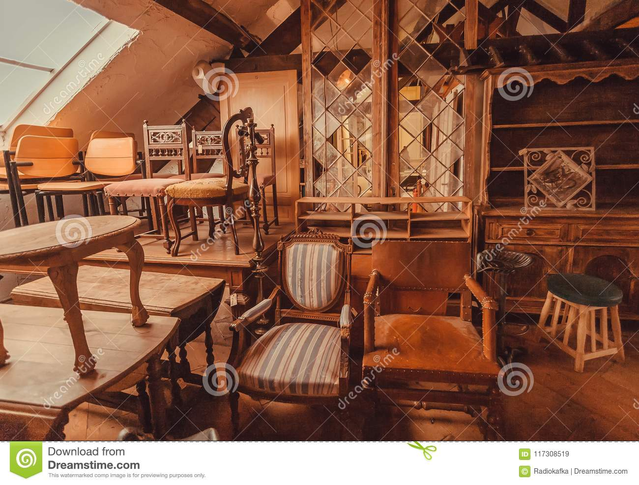 Old Shelves And Wooden Furniture In Historical House With