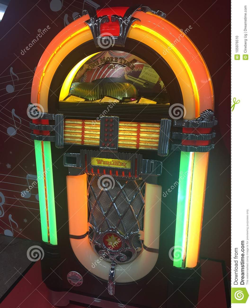 Old Wurlitzer Jukebox editorial image  Image of media - 105976510