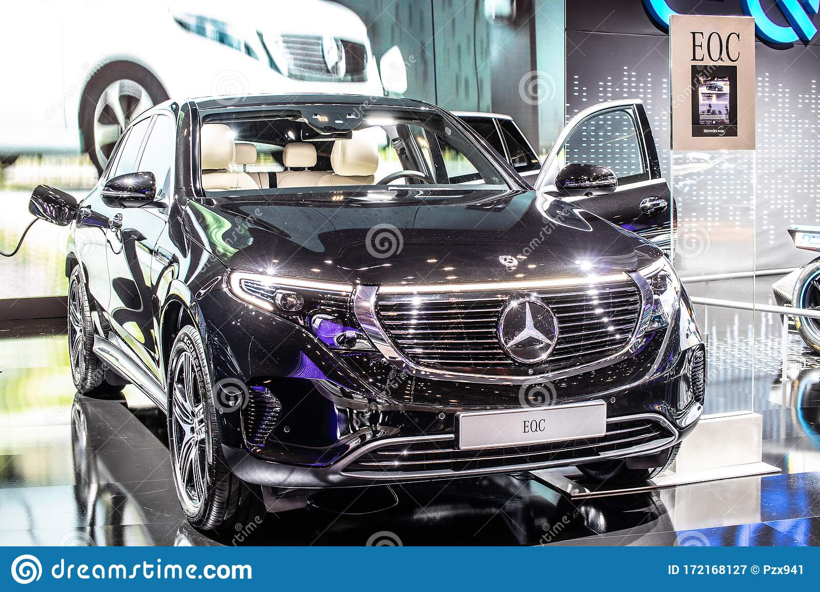 Electric Mercedes Eqc 400 4matic 300kw Suv 2020 Model Year Eq Brand At Brussels Motor Show Produced By Mercedes Benz Editorial Photography Image Of Motor Automobile 172168127