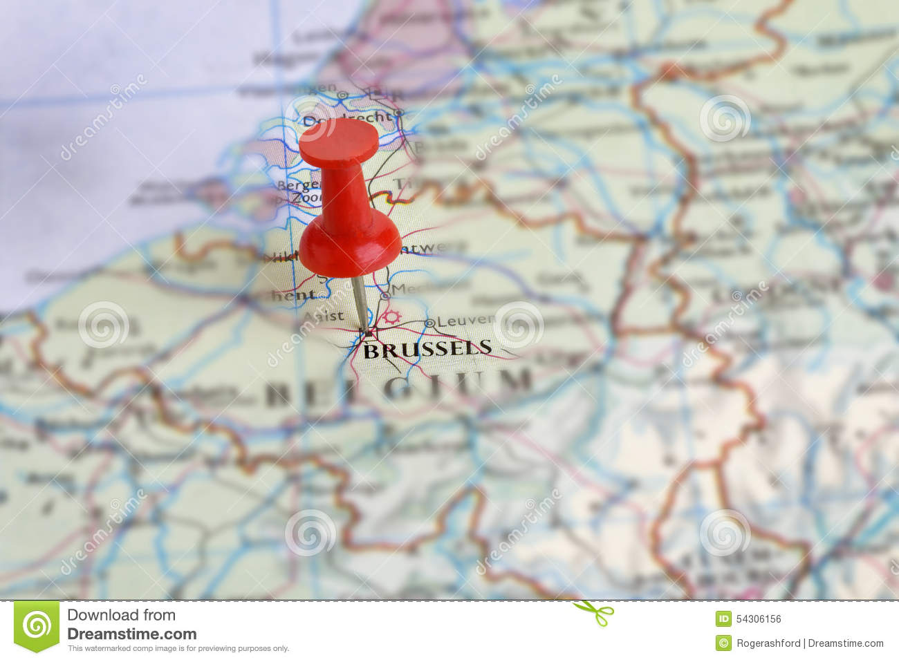 BrusselsBelgium On A Map Stock Photo Image - Brussels belgium map