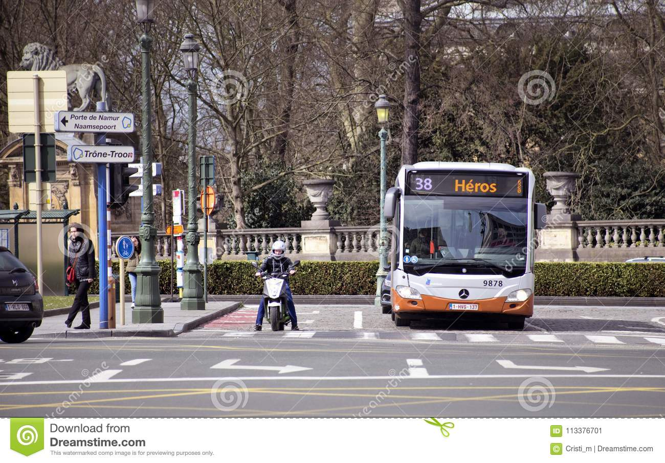 BRUSSELS, BELGIUM - MARCH 31, 2018:Various Means Of