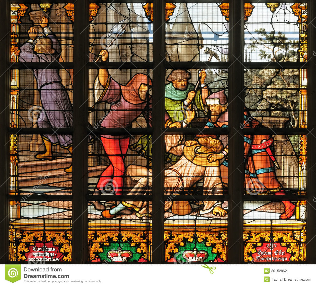 https://thumbs.dreamstime.com/z/brussels-belgium-november-medieval-scene-killing-stained-glass-window-st-michael-st-gudula-cathedral-november-30152862.jpg