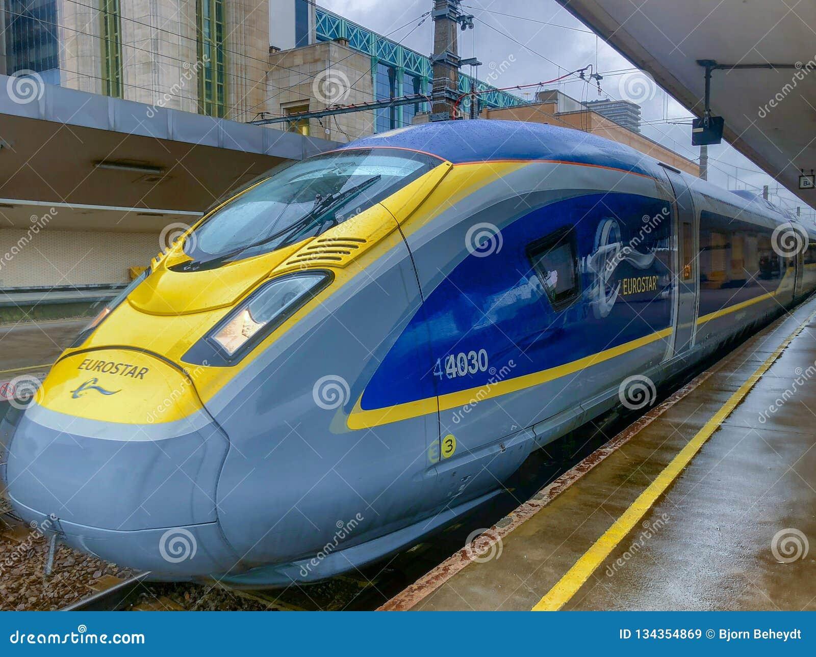 Brussels, Belgium - October 30, 2018: The E320 Eurostar International High Speed passengers Train in the Brussels North railway